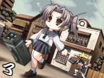 1boy 1girl bag barefoot black_hair brown_eyes bubble chibi daiakuji empty_eyes game_cg grey_hair hair_ribbon leg_lift multishot_rocket_launcher onigirikun open_mouth purple_hair ribbon rocket_launcher school_bag school_uniform serafuku short_twintails silver_hair skirt sweatdrop takega_satsu twintails weapon yamamoto_akuji