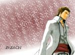 aizen_sousuke bleach brown_hair copyright_name evil highres kubo_taito male_focus official_art wallpaper white_robe