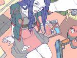 blue_hair glasses gun junny long_hair original weapon