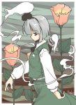 1girl akiyama_nenehisa female flower hitodama konpaku_youmu konpaku_youmu_(ghost) profile solo touhou walking will_o_wisp wisp