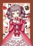 1girl cake chocolate cream dessert drill_hair earrings eating food frills fruit gothic_lolita hair_ornament ice_cream ice_cream_cone jewelry juke lolita_fashion macaron nail_polish open_mouth pastry pink_nails red_nails solo strawberry strawberry_shortcake twin_drills twintails