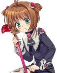 1girl card_captor_sakura child cosplay female kinomoto_sakura m.o.m.o. m.o.m.o._(cosplay) mutsuki_(moonknives) namco simple_background solo staff xeno_(series) xenosaga