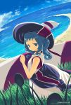 1girl bare_shoulders beach blue_eyes blue_hair blue_sky clouds coast day dress from_behind grass hat looking_at_viewer looking_back original outdoors plant sand sango_(53box) shore sky solo sun_hat water white_dress