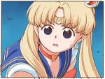 1girl bangs bishoujo_senshi_sailor_moon blonde_hair blue_background blue_eyes blue_sailor_collar border bow bowtie choker crescent crescent_earrings derivative_work diadem earrings eyebrows_visible_through_hair from_side hair_ornament heart heart_choker jewelry long_hair looking_at_viewer parted_bangs parted_lips poronegi red_choker red_neckwear sailor_collar sailor_moon sailor_moon_redraw_challenge school_uniform screencap_redraw serafuku shirt solo sweatdrop tsukino_usagi twintails white_border white_shirt