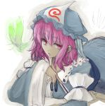 1girl arm_garter fan female hat japanese_clothes kimono long_sleeves lying mob_cap obi on_stomach pink_eyes pink_hair saigyouji_yuyuko sash shikai shikai_(iesiki_56) simple_background sketch solo touhou triangular_headpiece wide_sleeves