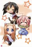 absurdres animal_ears apron cat_ears cat_tail dog_ears dog_tail fang fish highres kusakabe_misao lucky_star minegishi_ayano monkey_girl school_uniform serafuku tail takara_yukari