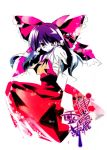 1girl bow detached_sleeves dress female full_body hair_bow hakurei_reimu long_hair long_sleeves looking_at_viewer purple_hair red_bow red_dress rei_(artist) rei_(rei's_room) ribbon-trimmed_sleeves ribbon_trim simple_background solo text touhou very_long_hair violet_eyes white_background
