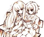 2girls book hisahiko long_hair monochrome multiple_girls nagato_yuki orange_(color) suou_kuyou suzumiya_haruhi_no_yuuutsu very_long_hair