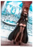 1girl arch black_clothes black_dress brick brown_hair bush choker clouds corset cross dress fei_(maidoll) floor flower fountain frills gate lace legs legwear long_hair looking_away original shoes sky solo stone text thigh-highs tiles tree twintails wall water zettai_ryouiki