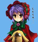 1girl blush bonnet bow capelet chipa_(arutana) cosplay crossover kunkun nagato_yuki purple_hair rozen_maiden shinku shinku_(cosplay) short_hair simple_background solo suzumiya_haruhi_no_yuuutsu yellow_eyes