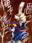 1boy bk kamina_pose male_focus mudo_(saji) pointing pointing_up simon solo tengen_toppa_gurren_lagann translated