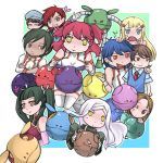 3boys 6+girls ;o armlet bad_anatomy bad_haro ball bare_shoulders blue_eyes blue_hair blush brother_and_sister brothers brown_hair collared_shirt creature dress_shirt expressionless freckles from_side full_body gem glasses gundam gundam_00 hair_ornament hairclip haro headpiece jitome johann_trinity kati_mannequin kinue_crossroad long_sleeves looking_at_viewer looking_to_the_side louise_halevy michael_trinity multiple_boys multiple_girls necktie nena_trinity one_eye_closed parted_lips patrick_colasour poorly_drawn profile red_eyes red_necktie redhead rimless_glasses saji_crossroad shirt short_hair siblings soma_peries sweatdrop sweater_vest thigh-highs twintails wang_liu_mei yellow_eyes