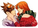 artist_name bare_shoulders brown_hair emily_(overwatch) face-to-face freckles goggles goggles_on_head green_scarf hands_on_another's_face ladygt93 long_hair looking_at_another nail_polish orange_hair overwatch scarf short_hair smile tracer_(overwatch) yuri