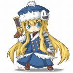 1girl atlus bad_id blonde_hair chibi gun gunner hat jack_frost long_hair reku rex_(artist) sekaiju_no_meikyuu solo weapon