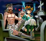 1boy 1girl abs armor beard blue_hair blush boxers brown_hair capcom clouds couple cross crown detached_sleeves dress eye_contact facial_hair ghosts_n_ghouls graveyard guinevere_(makaimura) hand_holding hat heart helmet hetero jewelry lightning long_hair looking_at_another makaimura male_underwear masao muscle mustache necklace night night_sky on_ground outdoors panties pantyshot pantyshot_(sitting) shirtless sir_arthur_(makaimura) sitting sky smile thigh-highs underwear white_panties