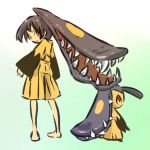 00s 1girl barefoot black_hair blush_stickers brown_eyes costume extra_mouth fangs hitec looking_back mawile moemon nintendo personification pokemon pokemon_(game) pokemon_rse prehensile_hair red_eyes simple_background solo standing