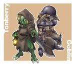2girls armor axe blonde_hair brown_background brown_hair character_name claws dark_skin fang final_fantasy final_fantasy_xi genderswap goblin goblin_(final_fantasy) green_skin grey_skin hatchet helmet hood knife lantern looking_at_viewer monster_girl multiple_girls pointy_ears red_eyes robe text tomotsuka_haruomi tonberry weapon yellow_eyes