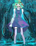 1girl bad_id blonde_hair female hair_ribbon happy hat minase_(mmakina) moriya's_iron_rings moriya_suwako multicolored_hair rain ribbon short_hair smile solo standing teenage thigh-highs touhou turtleneck wading water
