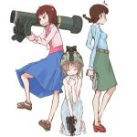 3girls akizuki_ritsuko amami_haruka bazooka brown_hair call_of_duty call_of_duty_4 desert_eagle gun hagiwara_yukiho handgun helmet idolmaster javelin javelin_missile kevlar multiple_girls night_vision_device pistol rocket_launcher sandals skirt skorpion skorpion_vz._61 submachine_gun tugeneko weapon