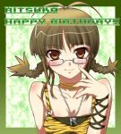 1girl adjusting_glasses ahoge akizuki_ritsuko blush braid breasts brown_eyes brown_hair choker cleavage closed_mouth collarbone cool_&_sexy_(idolmaster) female glasses idolmaster jewelry kantaka looking_at_viewer necklace pendant short_twintails smile solo twin_braids twintails upper_body