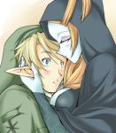 1boy 1girl blue_skin blush breast_press breasts cleavage cloak closed_eyes forehead_kiss height_difference hood hug kiss link microspace midna midna_(true) nintendo orange_hair pointy_ears spoilers the_legend_of_zelda the_legend_of_zelda:_twilight_princess