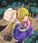1girl bad_id chains female foreshortening giant giantess highres horns ibuki_suika long_hair oni ribbon shiba_(pixiv) shibasaki_shouji solo touhou