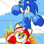 capcom cosplay costume lowres miles_prower no_humans oekaki parody rockman rockman_(character) rockman_(character)_(cosplay) rockman_(classic) rush_(rockman) sonic sonic_the_hedgehog trait_connection
