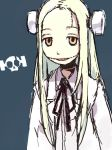 1girl black_ribbon blonde_hair bolt electrodes franken_fran grey_background hashimoto_shin hong_meiling labcoat long_hair looking_at_viewer madaraki_fran open_mouth orange_eyes parted_lips ribbon scar silver_hair simple_background solo stitches upper_body wrench yellow_eyes