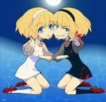 2girls blonde_hair blood blue_eyes brooch hairband jewelry kneeling multiple_girls original short_hair tears ukke