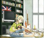 1girl backscratcher barefoot bass_guitar black_eyes blonde_hair book calves capri_pants cat catscratcher cutoffs denim feet flag guitar headphones instrument jeans kon_futaba naotan pants print_shirt reading shirt short_hair skeleton solo soredemo_machi_wa_mawatteiru television torn_clothes torn_jeans union_jack