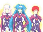 biruberu blue_hair bodysuit closed_eyes green_eyes headband klan_klein long_hair lowres macross macross_frontier meltrandi nene_rora pilot_suit pink_hair pointy_ears raramia_rerenia redhead short_hair twintails very_long_hair violet_eyes zentradi