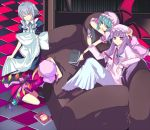 4girls bat_wings book couch dress female flandre_scarlet harano indoors izayoi_sakuya maid multiple_girls patchouli_knowledge remilia_scarlet the_embodiment_of_scarlet_devil touhou wings