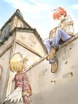 1boy 1girl ahoge back belt_pouch blacksmith blacksmith_(ragnarok_online) blonde_hair blue_pants blue_sky blush boots brick_wall building clock clock_tower clouds eye_contact from_below gloves hairband long_sleeves looking_at_another merchant merchant_(ragnarok_online) outdoors pants ragnarok_online red_eyes redhead shirt skirt sky sleeves_folded_up sleeves_rolled_up suka tower wall white_shirt