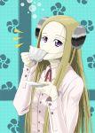 1girl blonde_hair bolt cup drinking electrodes franken_fran long_hair madaraki_fran scar solo stitches tea teacup violet_eyes