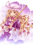 bad_id blonde_hair choker female hagiwara_rin hair_ribbon hat long_hair parasol ribbon ribbon_choker touhou umbrella yakumo_yukari yellow_eyes