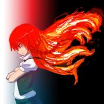 braid crossed_arms crossover fiery_hair fire hong_meiling nono_(top_wo_nerae_2!) parody red_eyes redhead top_wo_nerae_2! touhou