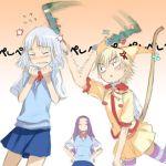 3girls anger_vein blush cat_sidhe_nekoko cat_tail haimura_kiyotaka hitting kirimiya_mizuki lowres multiple_girls shiraki_aeka sugimoto_gang tail thigh-highs yume_miru_kusuri