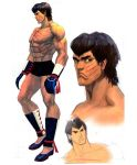 1boy abs alternate_costume black_hair blood boxing_gloves concept_art enter_the_dragon fei_long flats greaves ikeno_daigo muscle official_art parody scar shirtless shorts solo street_fighter street_fighter_iv