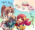 2girls bachou brown_hair chouhi food koihime_musou multiple_girls red_eyes red_hair translation_request