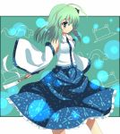 detached_sleeves green_eyes green_hair hair_over_one_eye jungetsu_hoko kochiya_sanae light_smile solo touhou