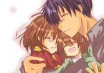brown_hair clannad closed_eyes family furukawa_nagisa hug husband_and_wife minami_to_uri_to okazaki_tomoya okazaki_ushio short_hair