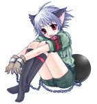 1boy cat_ears chain chains feet gloves hellsing male nazi purple_eyes schrodinger shackle shorts silver_hair sitting socks solo swastika tail uniform violet_eyes white_hair