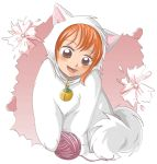 animal_ears bell clew collar nami one_piece orange_hair short_hair smile solo yarn