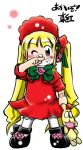 bandaid blonde_hair blue_eyes chibi kunkun long_hair rozen_maiden shinku shouzu_choukou stuffed_animal stuffed_toy twintails wink