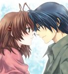 1girl antenna_hair blue_eyes blue_hair brown_eyes brown_hair clannad couple furukawa_nagisa husband_and_wife ikuhashi_muiko okazaki_tomoya short_hair