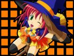 1girl ;d bare_shoulders black_gloves black_legwear bow bowtie brooch dress ebihara_kyousuke elbow_gloves from_above gem gloves green_eyes hat jewelry looking_at_viewer one_eye_closed open_mouth original red_dress redhead smile solo thigh-highs witch witch_hat yellow_bow yellow_bowtie zettai_ryouiki