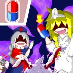4girls :d :x alternate_costume animal_ears black_hair blonde_hair blush_stickers braid crossover directional_arrow dr._mario dr.mario evil_smile hand_in_pocket hat head_mirror holding inaba_tewi kirisame_marisa labcoat long_hair lowres mario_(series) multiple_girls myonde nervous nintendo no_hat no_pupils o_o oekaki open_mouth parody peeking_out pill rabbit_ears red_cross reisen_udongein_inaba shaded_face side_braid silver_hair smile stethoscope super_mario_bros. sweat touhou very_long_hair yagokoro_eirin