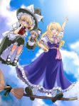 2girls alice_margatroid alice_margatroid_(cosplay) blonde_hair blue_eyes book broom broom_riding chin_rest cosplay costume_switch doll female flying grimoire hand_on_hip hand_up hat hips kirisame_marisa kirisame_marisa_(cosplay) mikagami_hiyori multiple_girls pointing raised_hand shanghai_doll sky touhou witch witch_hat yellow_eyes