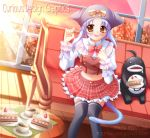 animal_ears blue_hair cake cat_ears cat_tail evemoina food pastry plaid plaid_skirt skirt tail thigh-highs yellow_eyes