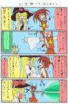 comic cosplay fate_testarossa female hakurei_reimu hakurei_reimu_(cosplay) hat hikami_shou japanese_clothes kirisame_marisa kirisame_marisa_(cosplay) lyrical_nanoha mahou_shoujo_lyrical_nanoha master_spark miko parody takamachi_nanoha touhou translated witch witch_hat yuuno_scrya